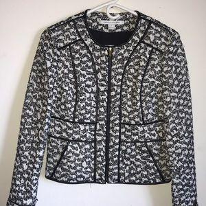 DVF sz 2 metallic blazer w leather piping detail